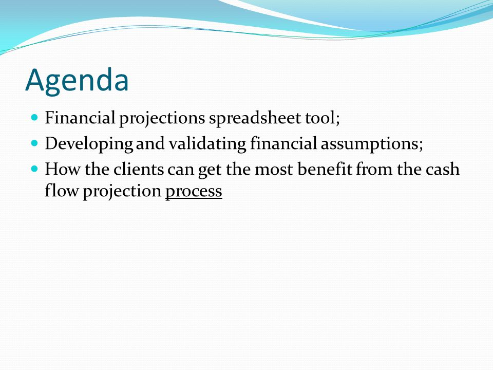 Agenda Financial projections spreadsheet tool; Developing and validating financial assumptions; How the clients can get the most benefit from the cash flow projection process