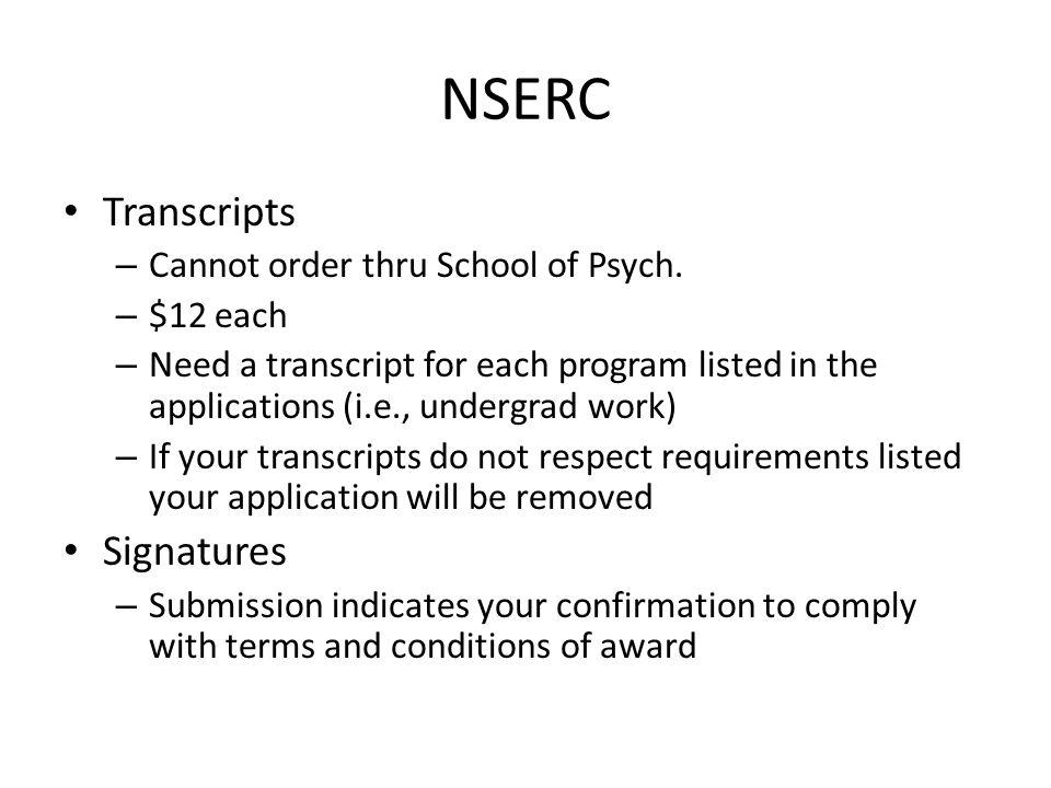 NSERC Transcripts – Cannot order thru School of Psych.
