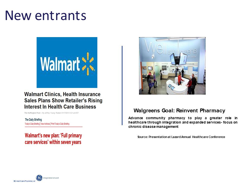 New entrants GE Healthcare Proprietary and Confidential Information Walgreens Goal: Reinvent Pharmacy Advance community pharmacy to play a greater role in healthcare through integration and expanded services- focus on chronic disease management Source: Presentation at Lazard Annual Healthcare Conference