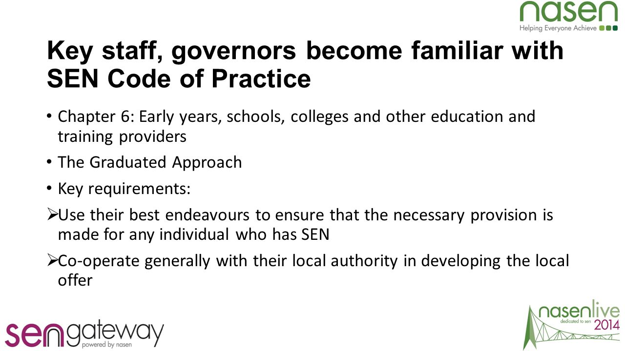 What the Code says about schools : Graduated Approach 6.