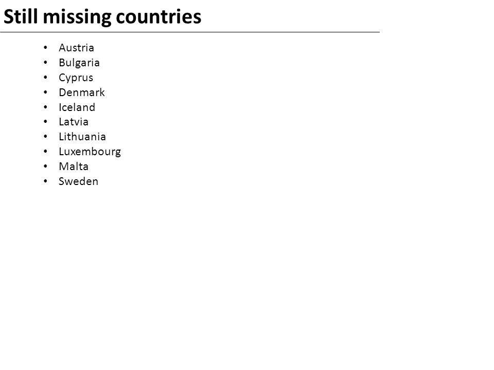 Still missing countries Austria Bulgaria Cyprus Denmark Iceland Latvia Lithuania Luxembourg Malta Sweden