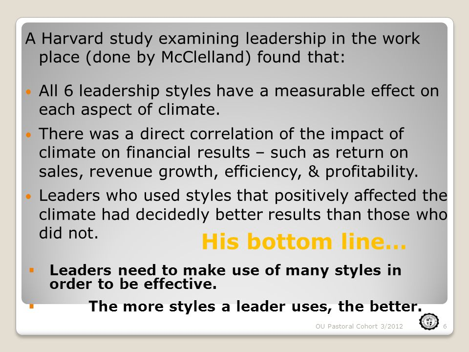6  Leaders need to make use of many styles in order to be effective.  The more styles a leader uses, the better. A Harvard study examining leadershi