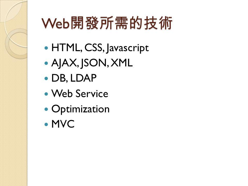 Web 開發所需的技術 HTML, CSS, Javascript AJAX, JSON, XML DB, LDAP Web Service Optimization MVC