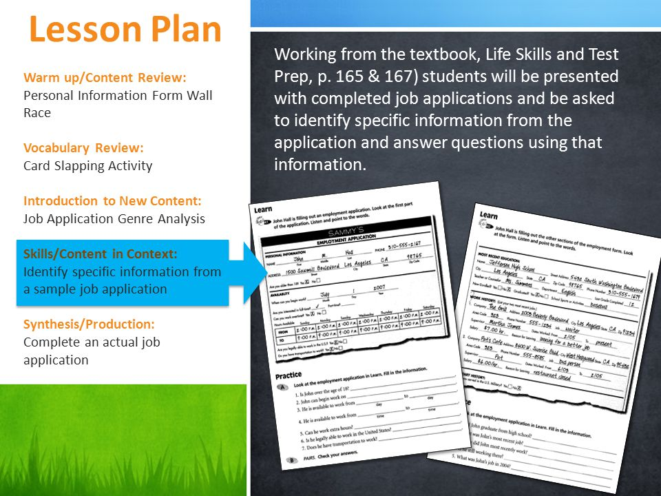 Lesson Plan Working from the textbook, Life Skills and Test Prep, p.