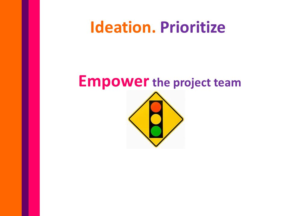 Empower the project team Ideation. Prioritize