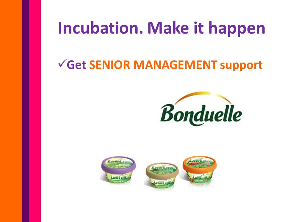 Get SENIOR MANAGEMENT support Incubation. Make it happen