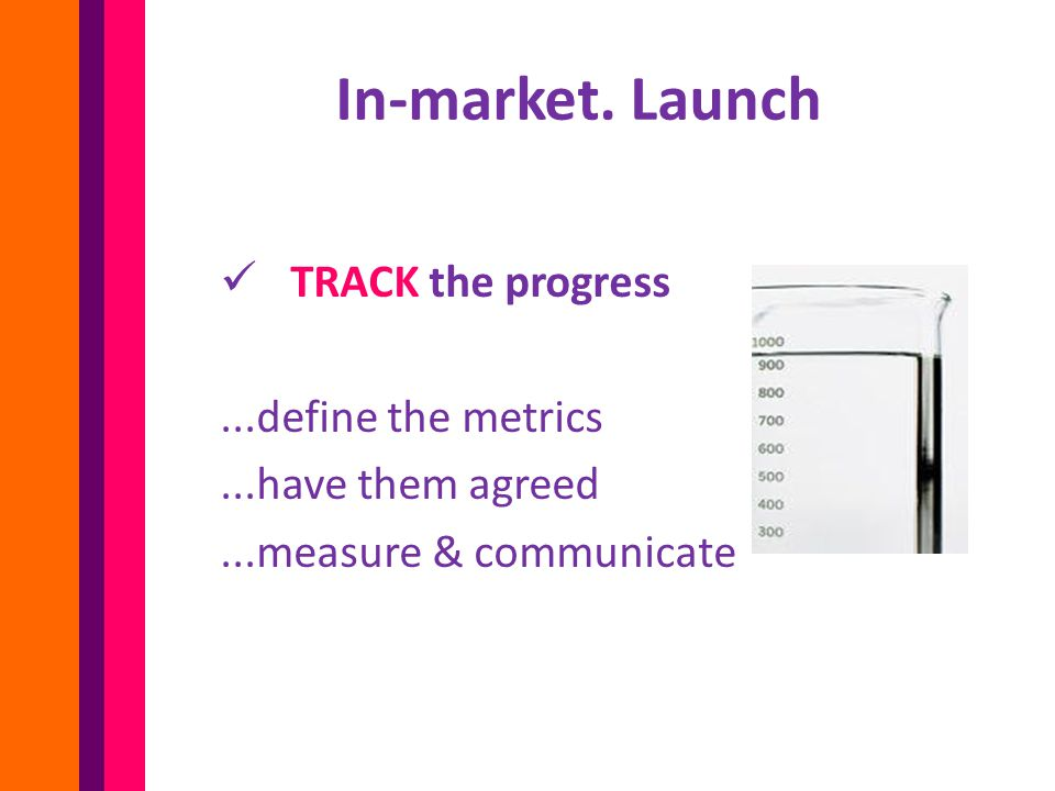 TRACK the progress...define the metrics...have them agreed...measure & communicate In-market.