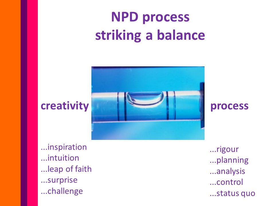 NPD process striking a balance creativity process...inspiration...intuition...leap of faith...surprise...challenge...rigour...planning...analysis...control...status quo