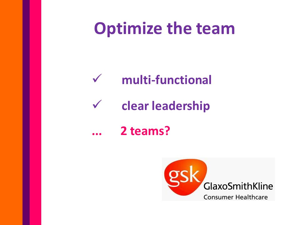 Optimize the team multi-functional clear leadership... 2 teams?