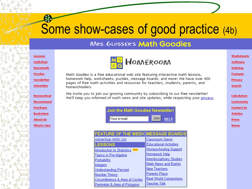 Some show-cases of good practice (4b)