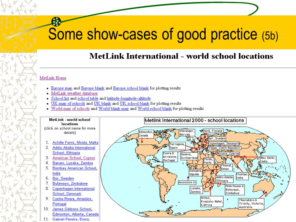 Some show-cases of good practice (5b)