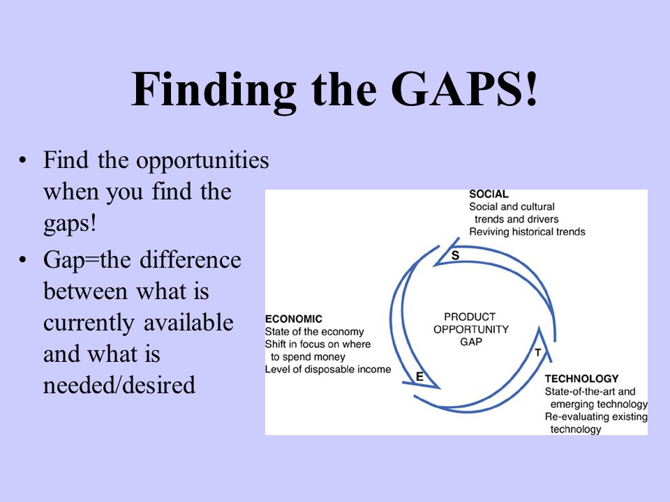 Find the opportunities when you find the gaps.