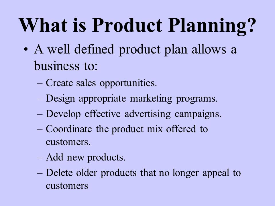 What is Product Planning.