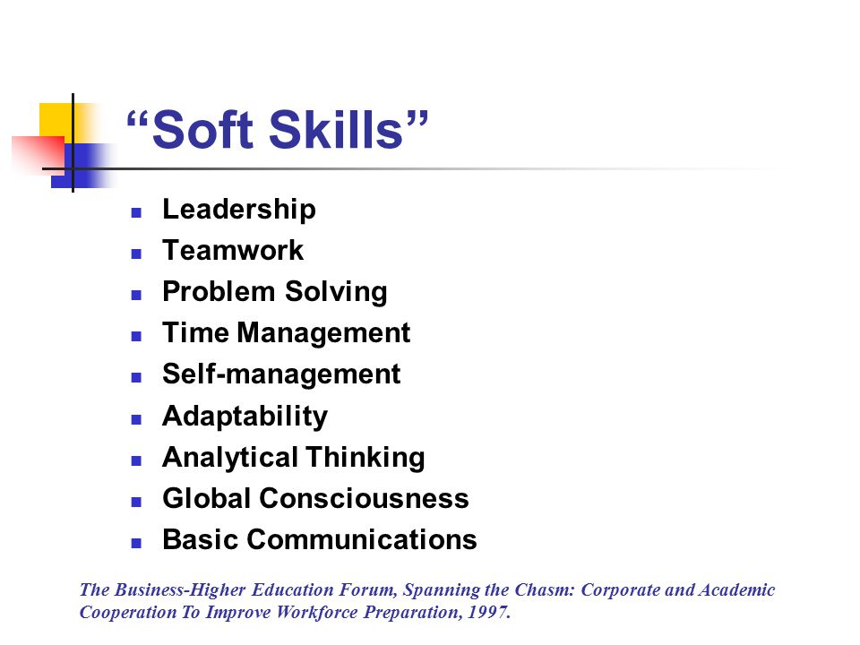 Soft Skills Leadership Teamwork Problem Solving Time Management Self-management Adaptability Analytical Thinking Global Consciousness Basic Communications The Business-Higher Education Forum, Spanning the Chasm: Corporate and Academic Cooperation To Improve Workforce Preparation, 1997.