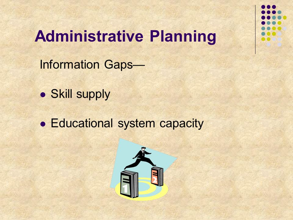Administrative Planning Information Gaps— Skill supply Educational system capacity