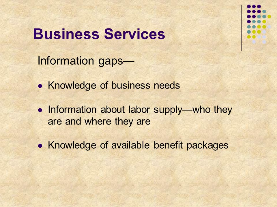 Business Services Information gaps— Knowledge of business needs Information about labor supply—who they are and where they are Knowledge of available benefit packages