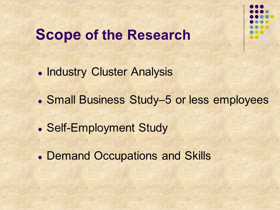 Scope of the Research Industry Cluster Analysis Small Business Study–5 or less employees Self-Employment Study Demand Occupations and Skills