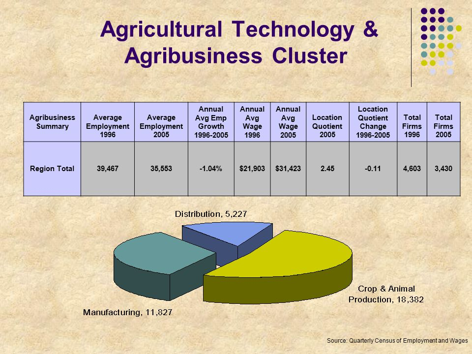 Agricultural Technology & Agribusiness Cluster Agribusiness Summary Average Employment 1996 Average Employment 2005 Annual Avg Emp Growth 1996-2005 Annual Avg Wage 1996 Annual Avg Wage 2005 Location Quotient 2005 Location Quotient Change 1996-2005 Total Firms 1996 Total Firms 2005 Region Total39,46735,553-1.04%$21,903$31,4232.45-0.114,6033,430 Source: Quarterly Census of Employment and Wages