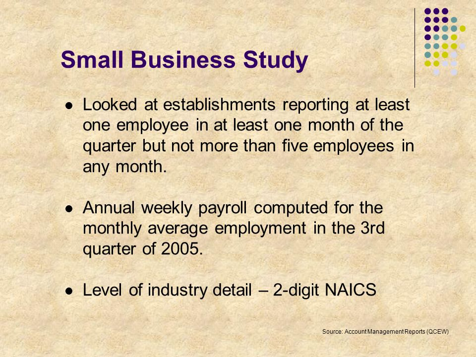 Small Business Study Looked at establishments reporting at least one employee in at least one month of the quarter but not more than five employees in any month.