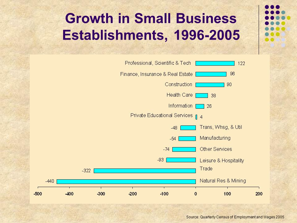 Growth in Small Business Establishments, 1996-2005 Source: Quarterly Census of Employment and Wages 2005
