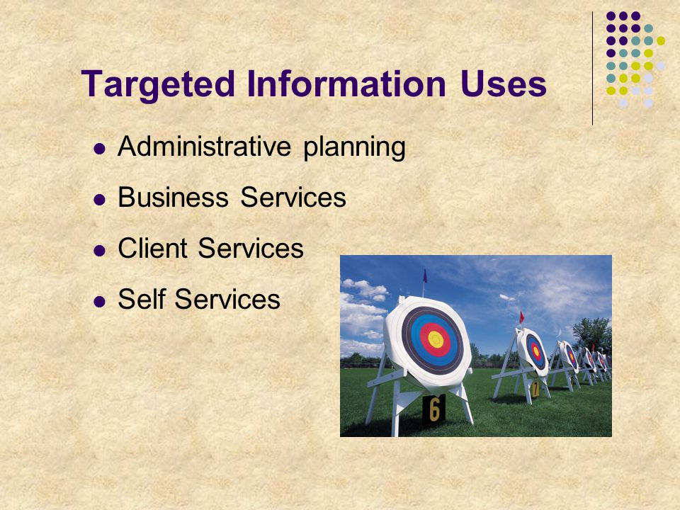 Targeted Information Uses Administrative planning Business Services Client Services Self Services