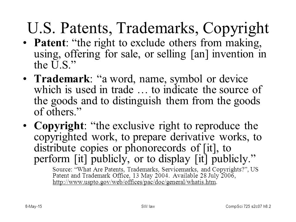 8-May-15SW lawCompSci 725 s2c07 h8.33 A Brief History of (British and) American Copyright 1557: Stationers' Company gains control of all printing and book sales, authors have few rights.