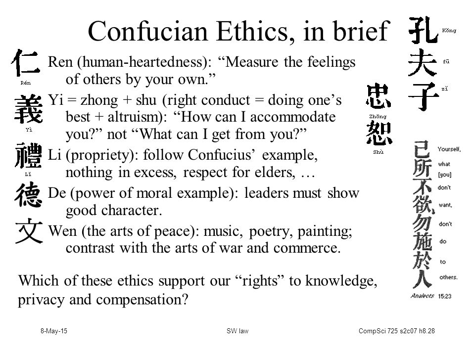 8-May-15SW lawCompSci 725 s2c07 h8.28 Confucian Ethics, in brief Ren (human-heartedness): Measure the feelings of others by your own. Yi = zhong + shu (right conduct = doing one's best + altruism): How can I accommodate you not What can I get from you Li (propriety): follow Confucius' example, nothing in excess, respect for elders, … De (power of moral example): leaders must show good character.