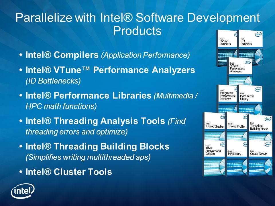 Parallelize with Intel® Software Development Products  Intel® Compilers (Application Performance)  Intel® VTune™ Performance Analyzers (ID Bottlenecks)  Intel® Performance Libraries (Multimedia / HPC math functions)  Intel® Threading Analysis Tools (Find threading errors and optimize)  Intel® Threading Building Blocks (Simplifies writing multithreaded aps)  Intel® Cluster Tools