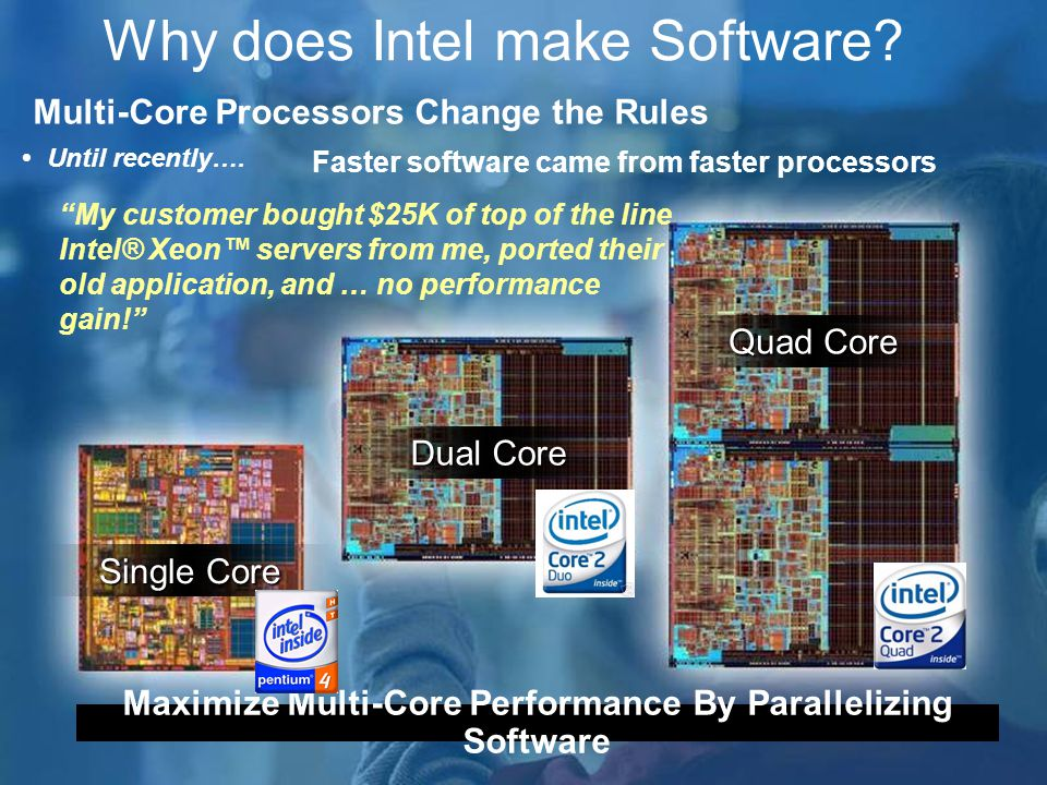 Why does Intel make Software. Single Core Dual Core Quad Core  Until recently….