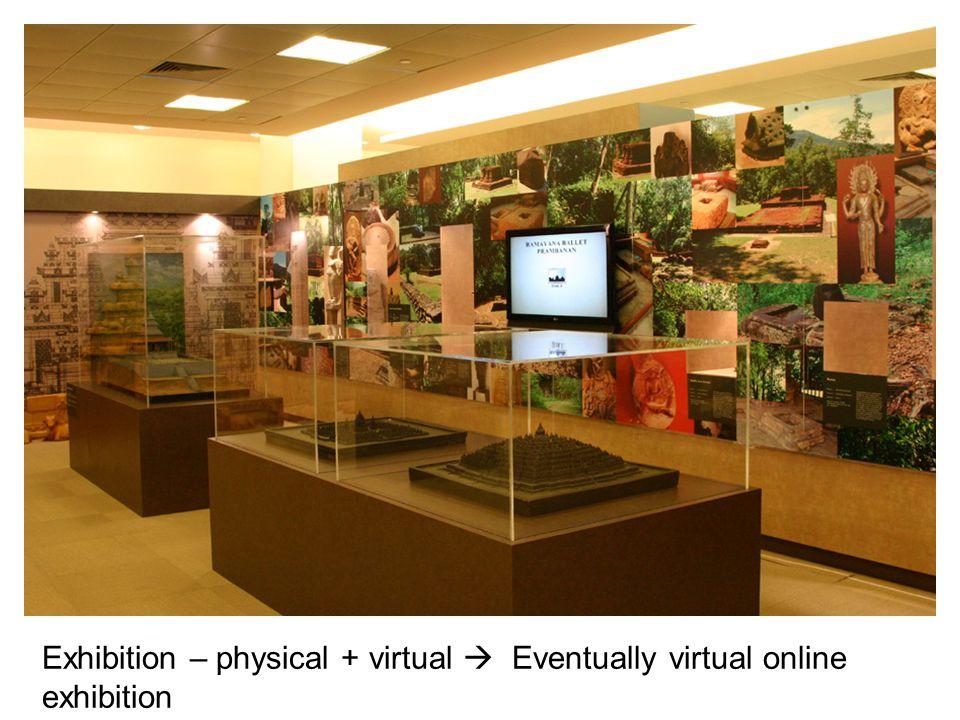 Exhibition – physical + virtual  Eventually virtual online exhibition