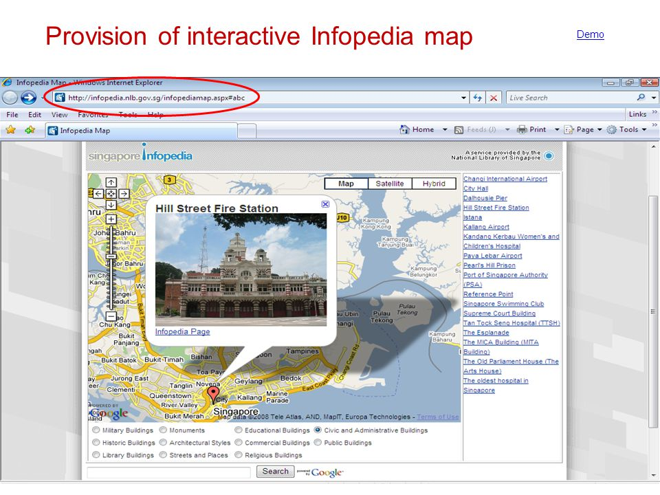 Provision of interactive Infopedia map Demo