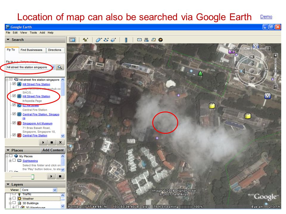 Location of map can also be searched via Google Earth Demo