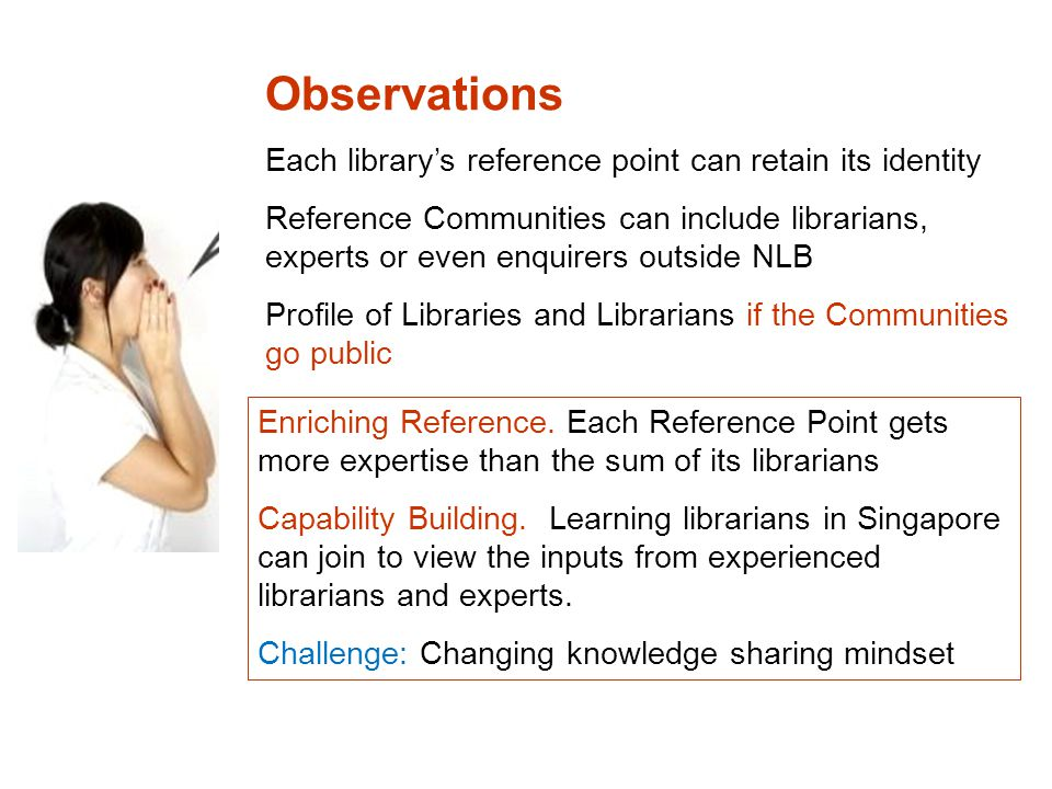 Observations Each library's reference point can retain its identity Reference Communities can include librarians, experts or even enquirers outside NLB Profile of Libraries and Librarians if the Communities go public Enriching Reference.