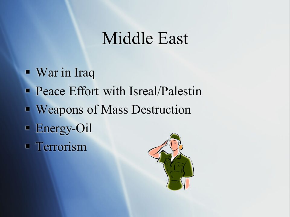 Middle East  War in Iraq  Peace Effort with Isreal/Palestin  Weapons of Mass Destruction  Energy-Oil  Terrorism  War in Iraq  Peace Effort with Isreal/Palestin  Weapons of Mass Destruction  Energy-Oil  Terrorism