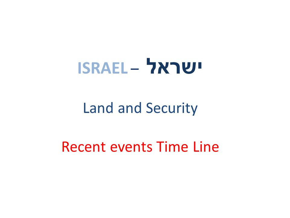 ISRAEL – ישראל Land and Security Recent events Time Line