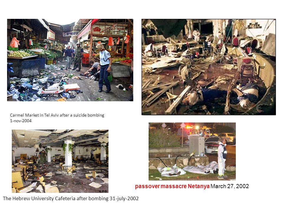 Carmel Market in Tel Aviv after a suicide bombing 1-nov-2004 The Hebrew University Cafeteria after bombing 31-july-2002 passover massacre Netanya March 27, 2002