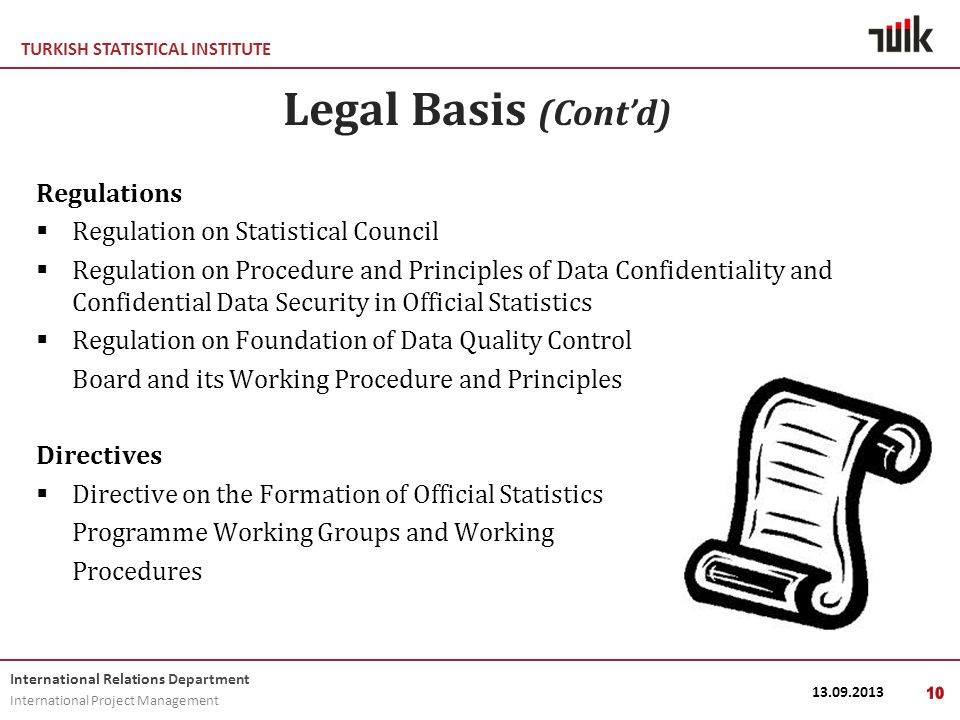 TURKISH STATISTICAL INSTITUTE International Relations Department International Project Management 13.09.201310 Legal Basis (Cont'd) Regulations  Regulation on Statistical Council  Regulation on Procedure and Principles of Data Confidentiality and Confidential Data Security in Official Statistics  Regulation on Foundation of Data Quality Control Board and its Working Procedure and Principles Directives  Directive on the Formation of Official Statistics Programme Working Groups and Working Procedures