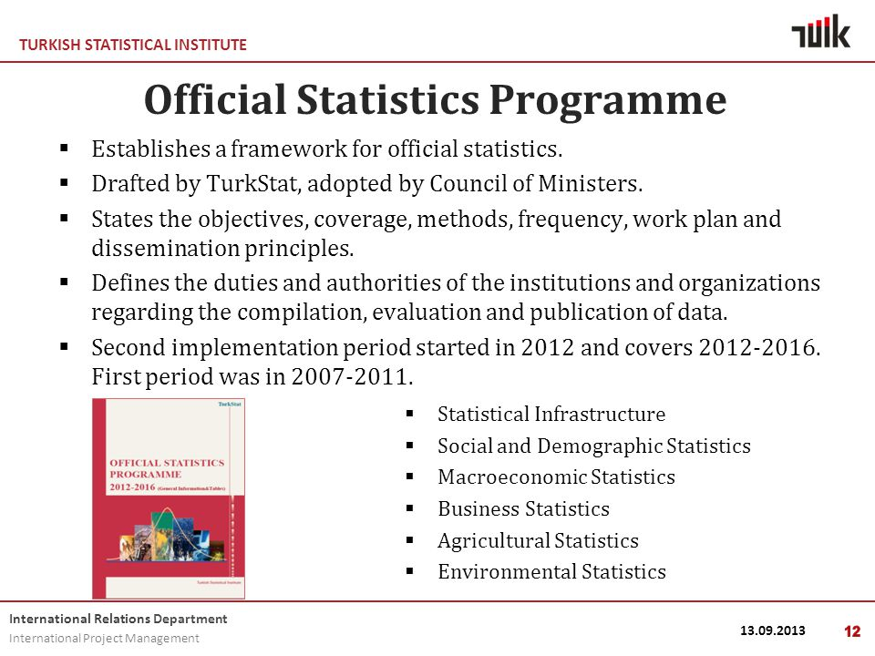 TURKISH STATISTICAL INSTITUTE International Relations Department International Project Management 13.09.201312 Official Statistics Programme  Establishes a framework for official statistics.