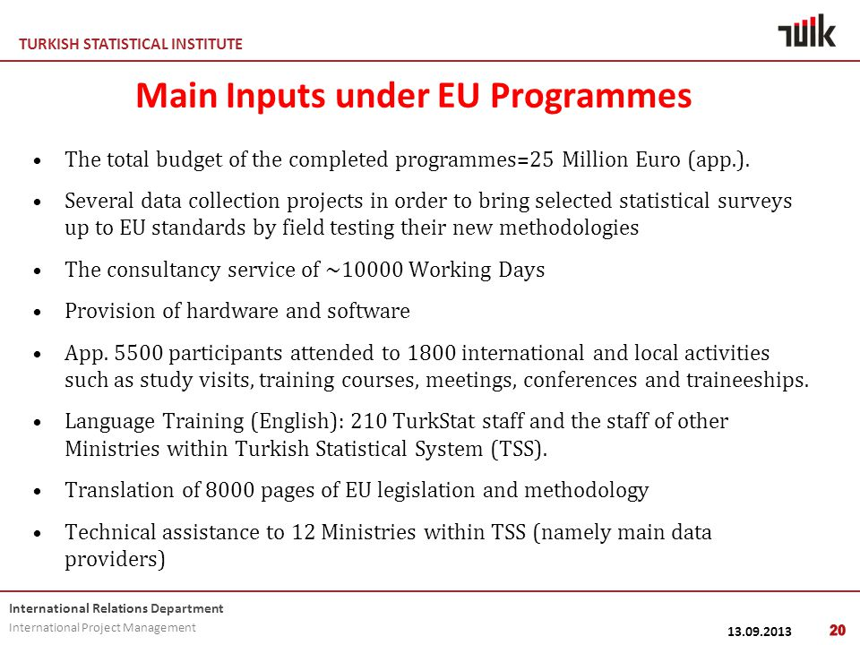 TURKISH STATISTICAL INSTITUTE International Relations Department International Project Management 13.09.2013 Main Inputs under EU Programmes The total budget of the completed programmes=25 Million Euro (app.).