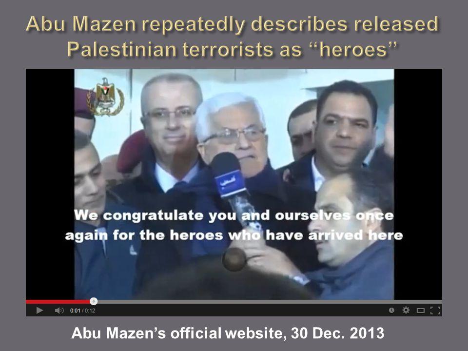 Abu Mazen's official website, 30 Dec. 2013