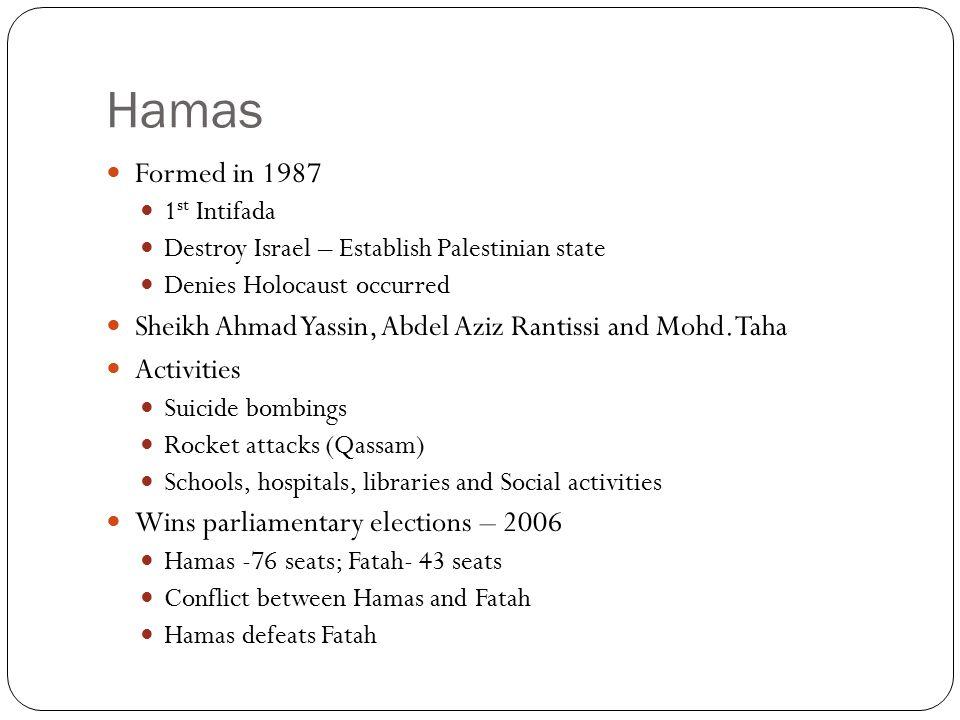 Hamas Formed in 1987 1 st Intifada Destroy Israel – Establish Palestinian state Denies Holocaust occurred Sheikh Ahmad Yassin, Abdel Aziz Rantissi and