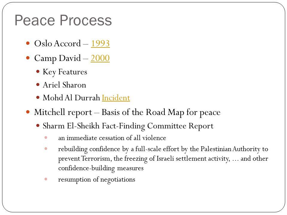 Peace Process Oslo Accord – 19931993 Camp David – 20002000 Key Features Ariel Sharon Mohd Al Durrah IncidentIncident Mitchell report – Basis of the Ro