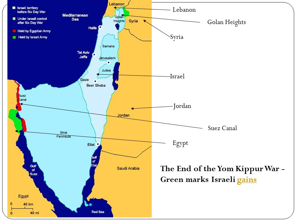 Lebanon Syria Israel Jordan Egypt Suez Canal Golan Heights The End of the Yom Kippur War - Green marks Israeli gainsgains
