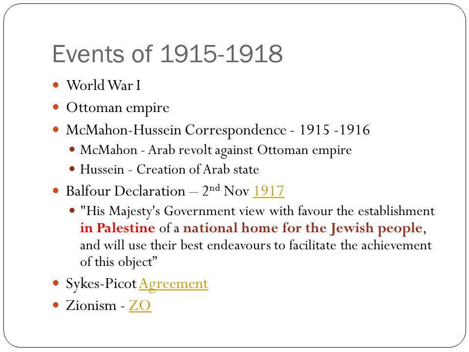 Events of 1915-1918 World War I Ottoman empire McMahon-Hussein Correspondence - 1915 -1916 McMahon - Arab revolt against Ottoman empire Hussein - Crea
