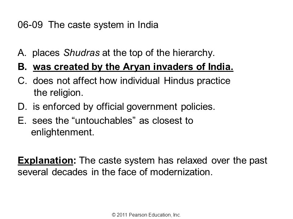 © 2011 Pearson Education, Inc. 06-09 The caste system in India A.