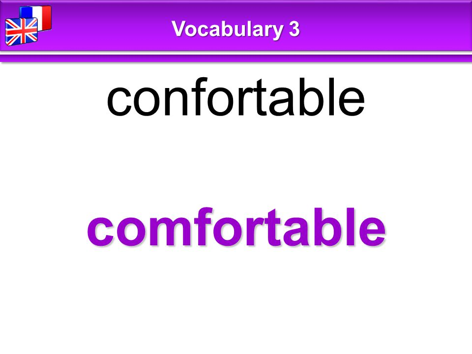 comfortable confortable Vocabulary 3