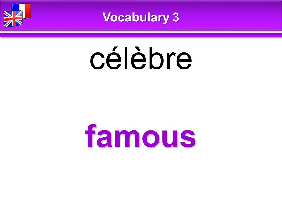 famous célèbre Vocabulary 3