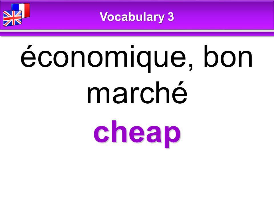 cheap économique, bon marché Vocabulary 3