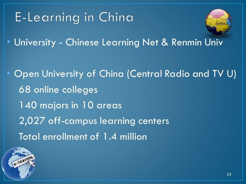 University - Chinese Learning Net & Renmin Univ Open University of China (Central Radio and TV U) 68 online colleges 140 majors in 10 areas 2,027 off-campus learning centers Total enrollment of 1.4 million 22
