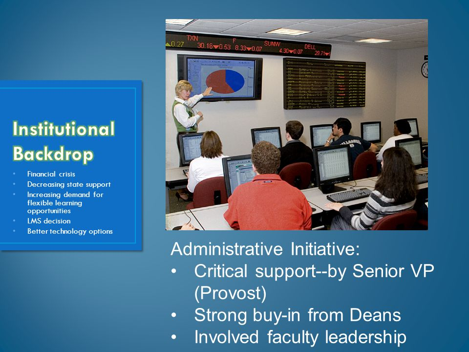 Financial crisis Decreasing state support Increasing demand for flexible learning opportunities LMS decision Better technology options Administrative Initiative: Critical support--by Senior VP (Provost) Strong buy-in from Deans Involved faculty leadership